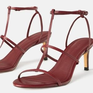 Zara Leather Strappy Burgundy Sandals